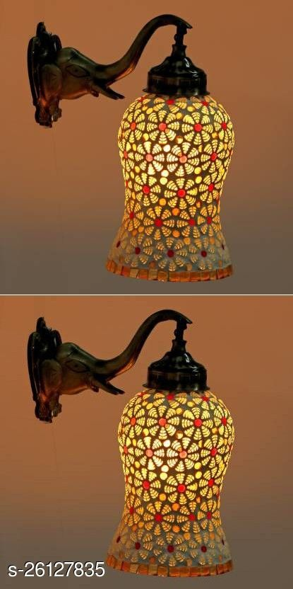 Afast New Stylish Hand Decorative Colorful Glass Wall Lamp Light With Royal Elephant Shape Shape Fitting ( Set Of Two ), Computable With 5 TO 60 Watt LED And Other Bulbs