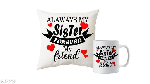 Mug And Cushion Gift Combo For Sister
