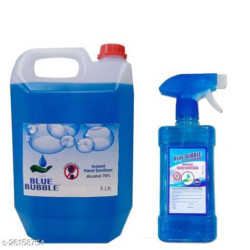 Lovely Fashion Blue Bubble Instant 5 Ltr Sanitizer- Alcohol 70% - Kill Germs 99.9%  500ml Bottle free Hand Sanitizer Cane