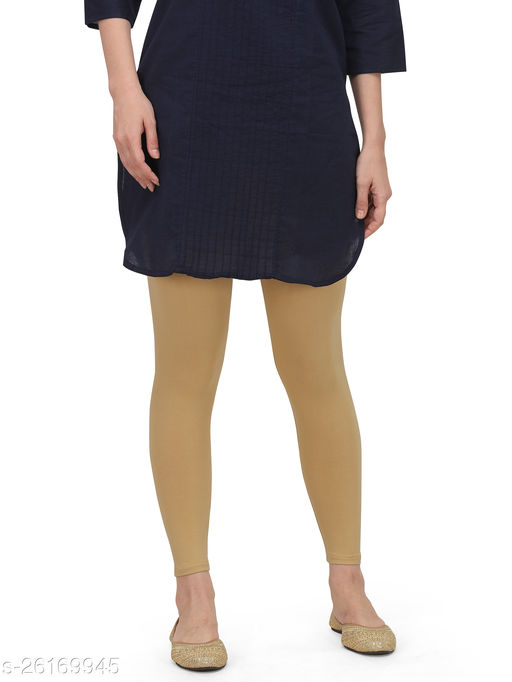 Cotton Lycra Chickoo Ankle Length Leggings