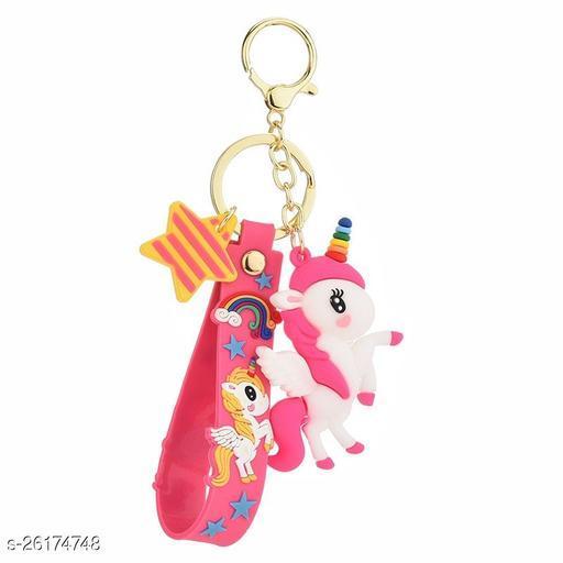 Cute Rainbow Unicorn With Pink Lanyard Keychain