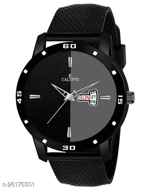 Trendy  ST-232 Silicone Band & Dual Color Dial with Day & Date Function Wrist Watch for Boys  Watch - For Men