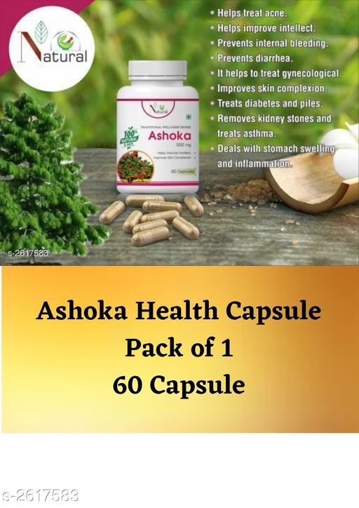 Ayurveda & Herbs Natural Herbal Health Care Product  *Product Name* Ashoka Health Care Products  *Product Type* Capsules  *Capacity* 60 Capsules  *Product Description* Wellness isn't just about dieting and exercise - it's about nutrition and what we put in our bodies. In today's age of processed foods and hectic lifestyles, it can be difficult to give the body all the nutrients it needs. Our Purpose is to formulate the most effective nutritional supplements targeted for your specific health goals. Extensive research and development goes into every single one of our formulations, giving you the highest-quality nutritional supplements available. This product has been manufactured by Green Cross Health Innovation. At Green Cross Health Innovation, the knowledge of Ayurveda is complimented with scientific research and modern manufacturing techniques. After a decade of extensive research and development studies, we have manufactured a unique range of authentic Ayurveda formulations for promoting natural health and wellness.We have over 100 medicines in our existing range of Ayurveda Medicines, for a wide range of ailments and body conditions.  *Package Contains* It Has 1 Pack Of Ashoka Capsules  *Sizes Available* Free Size *    Catalog Name: Natural Herbal Health Care Products Vol 7 CatalogID_353616 C126-SC1312 Code: 074-2617583-