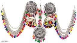 Latest fancy designer Bahubali stylish earrings and Maang Tikka set