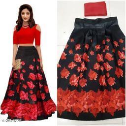 Partywear Satin Women's Printed Lehengas Set