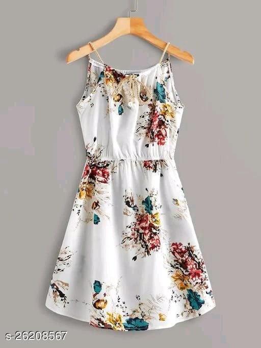 PULSBERY Women's Floral Print Sleeveless Short Dress