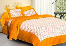 Cotton Double Jaipuri Prints Bedsheet Jaiputi Printed(Pack Of 1 Orange)