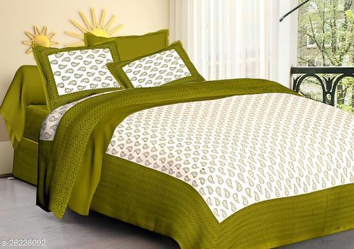 Cotton Double Jaipuri Prints Bedsheet Jaiputi Printed(Pack Of 1Green)