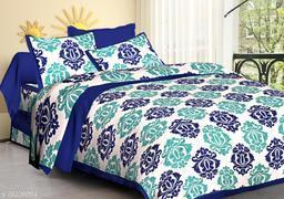 Cotton Double Jaipuri Prints Bedsheet Jaiputi Printed(Pack Of 1  Blue)