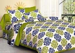 Cotton Double Jaipuri Prints Bedsheet Jaiputi Printed(Pack Of 1 Green)