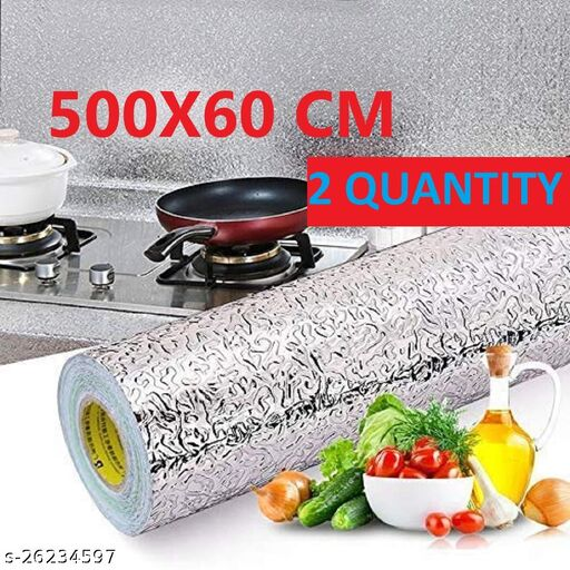 Amazing foil wall paper Oil Proof Self-Adhesive Anti-Mold and Heat Resistant Backsplash Aluminum Foil Stickers/Wallpaper for Kitchen Walls Cabinets Drawers and Shelves, size (60*500) cm ( 2 QUANTITY)
