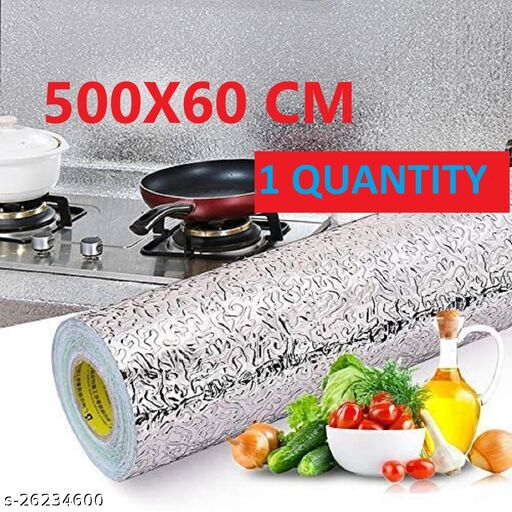 Amazing foilwallpaper Oil Proof Self-Adhesive Anti-Mold and Heat Resistant Backsplash Aluminum Foil Stickers/Wallpaper for Kitchen Walls Cabinets Drawers and Shelves, size (60*500) cm (1 QUANTITY)