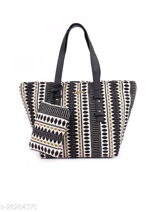 ASTRID Black & White Textured Tote Bag With Coin Pouch