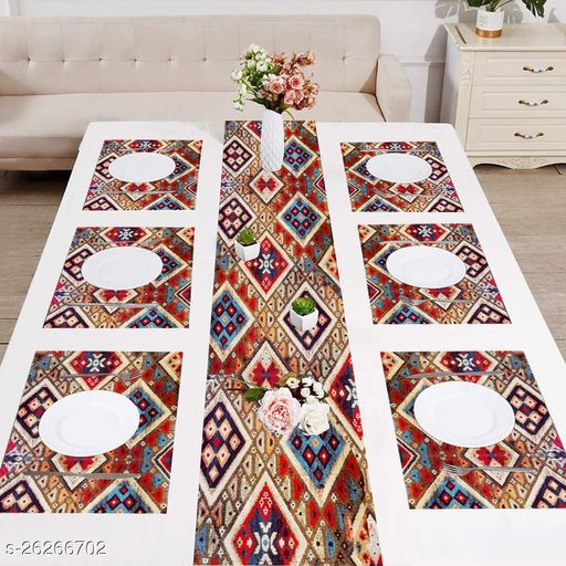 Exclusive Premium Traitional  Print Table Runner with Tassels and Placement Pack of 6