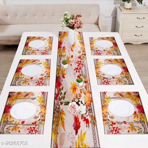 Exclusive Premium white flower Print Table Runner with Tassels and Placement Pack of 6