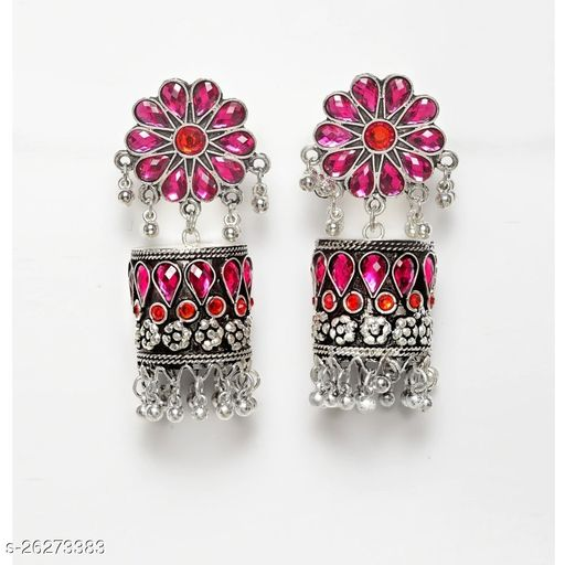 Designer Traditional Oxidized Silver Afghani Style Big Stone Jhumki silver Earrings for Women and Girls