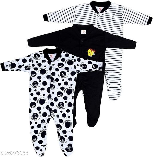 Mini Berry Born Baby Multi-Color Long Sleeve Body Suit,Romper, Sleep Suit for Boys and Girls Pack of 3pcs Set Onesies & Rompers