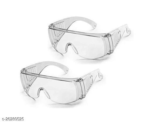 Adhvik Set Of 2 Pcs Non-Breakable FluFighter Eye Protective Light Weight, Chemical Splash Eye Protective Transparent Laboratory Safety Goggle