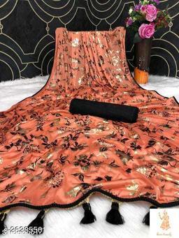 Heer Trendz Malai Silk Weaving Border Party Wedding Fashion Sarees Orange Color