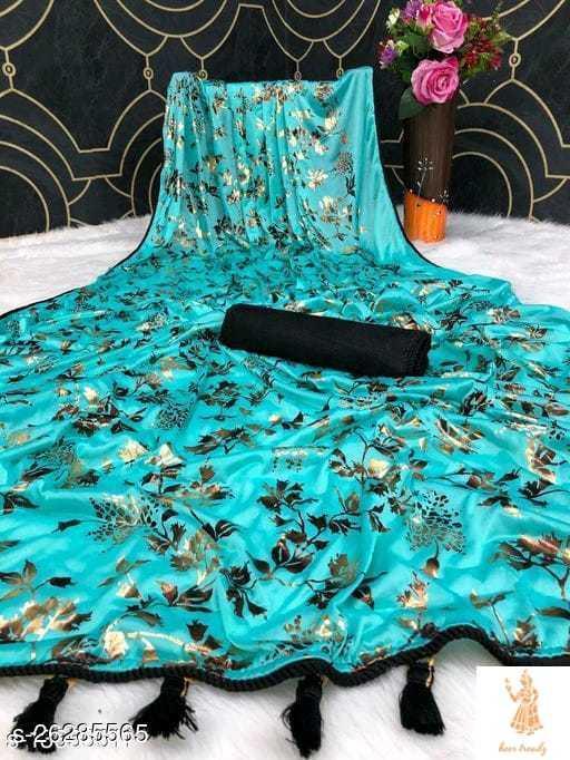 Heer Trendz Malai Silk Weaving Border Party Wedding Fashion Sarees Firozi Color
