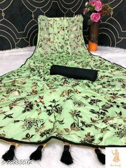 Heer Trendz Malai Silk Weaving Border Party Wedding Fashion Sarees Pista Color