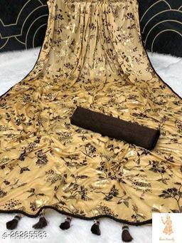 Heer Trendz Malai Silk Weaving Border Party Wedding Fashion Sarees Cream Color