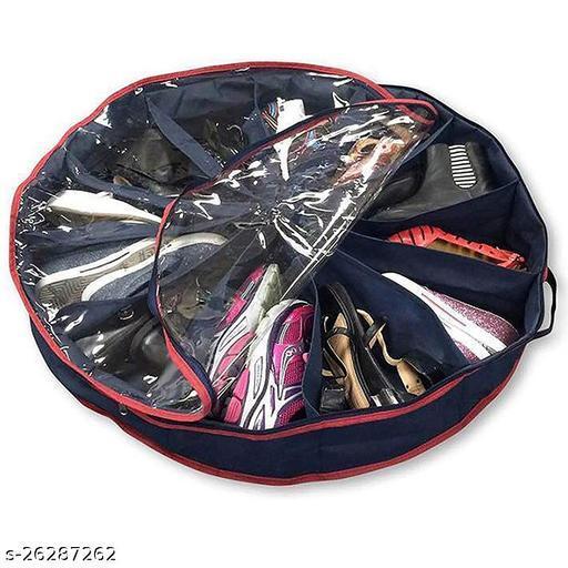 12 Racks Shoe Organizer Round Shape 360 Zipper to Keep Shoes Clean