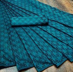 Fancy Rasal Net Saree - (Blue)