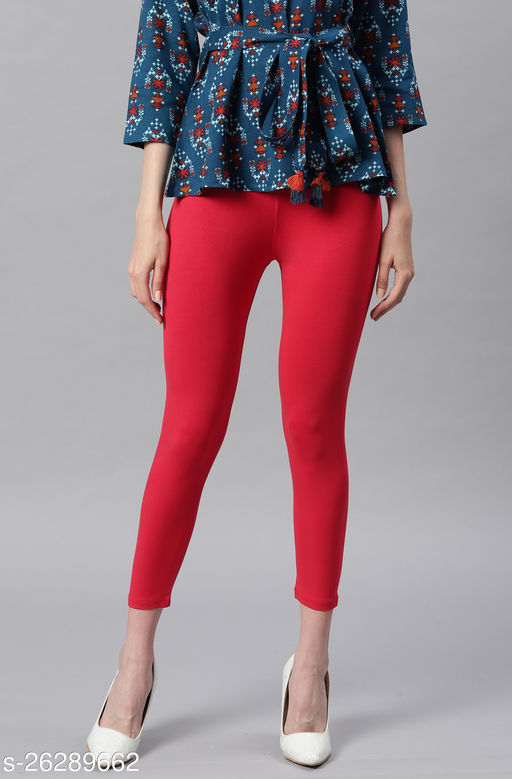 Janasya Women's Red Viscose Lycra Leggings