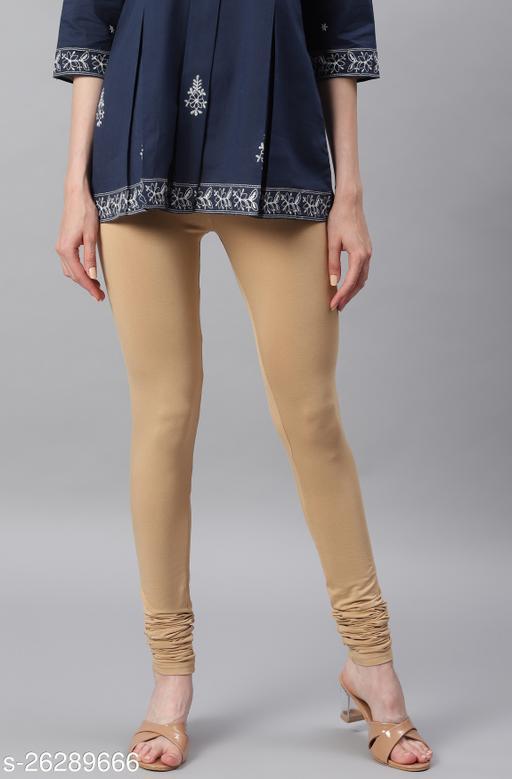 Janasya Women's Beige Viscose Lycra Leggings