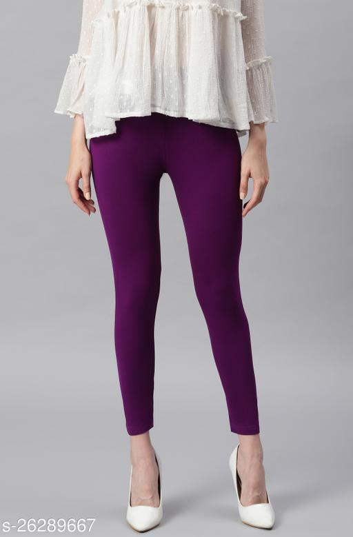 Janasya Women's Purple Viscose Lycra Leggings