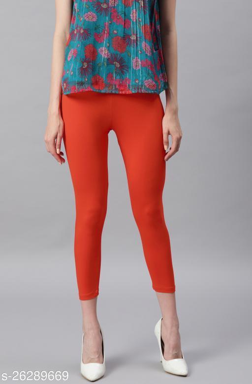 Janasya Women's Orange Viscose Lycra Leggings