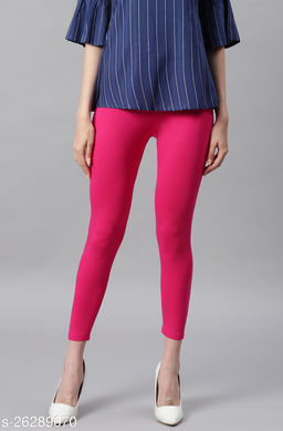 Janasya Women's Pink Viscose Lycra Leggings