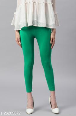 Janasya Women's Green Viscose Lycra Leggings