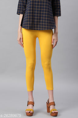 Janasya Women's Yellow Viscose Lycra Leggings