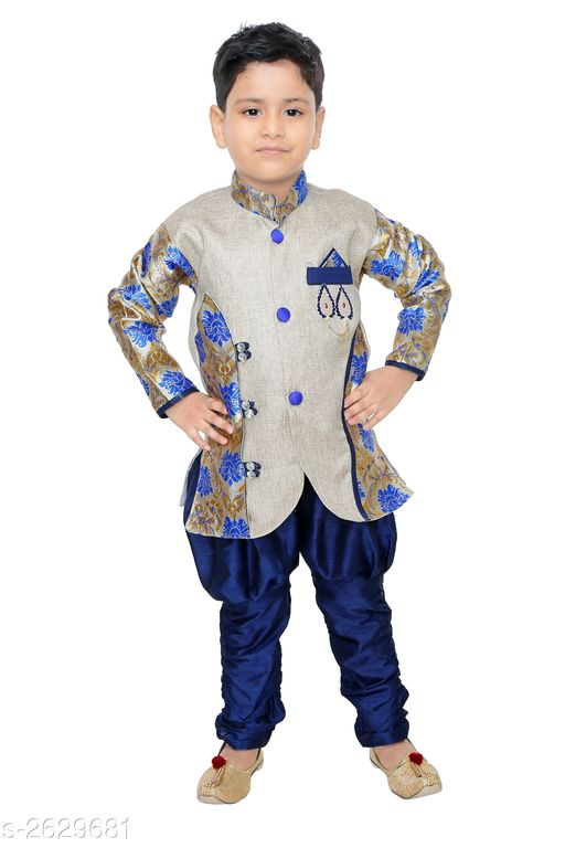 Sherwanis Kid's Boy's Sherwani Sets  *Fabric* Jute  *Sleeves* Sleeves Are Included  *Size* Age Group (6 Months - 9 Months) - 16 in Age Group (9 Months - 12 Months) - 18 in Age Group (12 Months - 18 Months) - 20 in Age Group (18 Months - 24 Months) - 22 in Age Group (2 - 3 Years) - 24 in Age Group (3 - 4 Years) - 26 in Age Group (4 - 5 Years) - 28 in Age Group (5 - 6 Years) - 30 in Age Group (6 - 7 Years) - 32 in Age Group (7 - 8 Years) - 34 in  *Type* Stitched  *Description* It Has 1 Piece Of Kid's Sherwani & 1Piece of Kid's Payjama  *Work* Printed  *Sizes Available* 2-3 Years, 3-4 Years, 4-5 Years, 5-6 Years, 6-7 Years, 6-9 Months, 6-12 Months, 9-12 Months, 12-18 Months, 18-24 Months, 1-2 Years *   Catalog Rating: ★3.3 (94)  Catalog Name: Elegant Kid's Boy's Sherwani Sets Vol 8 CatalogID_355416 C58-SC1172 Code: 513-2629681-