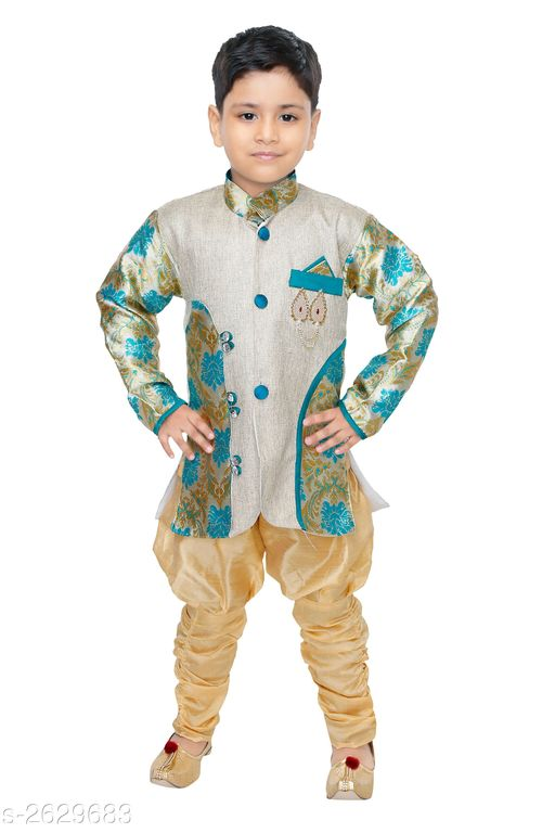 Sherwanis Kid's Boy's Sherwani Sets  *Fabric* Jute  *Sleeves* Sleeves Are Included  *Size* Age Group (6 Months - 9 Months) - 16 in Age Group (9 Months - 12 Months) - 18 in Age Group (12 Months - 18 Months) - 20 in Age Group (18 Months - 24 Months) - 22 in Age Group (2 - 3 Years) - 24 in Age Group (3 - 4 Years) - 26 in Age Group (4 - 5 Years) - 28 in Age Group (5 - 6 Years) - 30 in Age Group (6 - 7 Years) - 32 in Age Group (7 - 8 Years) - 34 in  *Type* Stitched  *Description* It Has 1 Piece Of Kid's Sherwani & 1Piece of Kid's Payjama  *Work* Printed  *Sizes Available* 2-3 Years, 3-4 Years, 4-5 Years, 5-6 Years, 6-7 Years, 7-8 Years, 6-9 Months, 6-12 Months, 9-12 Months, 12-18 Months, 18-24 Months, 1-2 Years *   Catalog Rating: ★3.3 (94)  Catalog Name: Elegant Kid's Boy's Sherwani Sets Vol 8 CatalogID_355416 C58-SC1172 Code: 513-2629683-