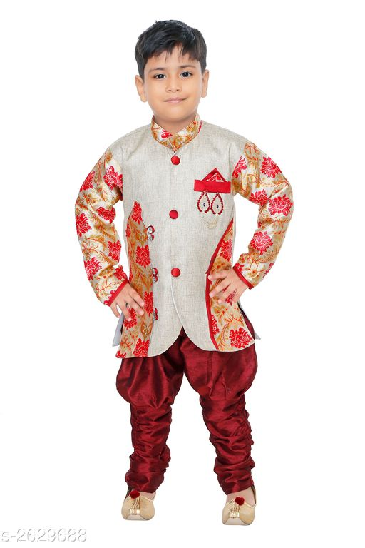 Sherwanis Kid's Boy's Sherwani Sets  *Fabric* Jute  *Sleeves* Sleeves Are Included  *Size* Age Group (6 Months - 9 Months) - 16 in Age Group (9 Months - 12 Months) - 18 in Age Group (12 Months - 18 Months) - 20 in Age Group (18 Months - 24 Months) - 22 in Age Group (2 - 3 Years) - 24 in Age Group (3 - 4 Years) - 26 in Age Group (4 - 5 Years) - 28 in Age Group (5 - 6 Years) - 30 in Age Group (6 - 7 Years) - 32 in Age Group (7 - 8 Years) - 34 in  *Type* Stitched  *Description* It Has 1 Piece Of Kid's Sherwani & 1Piece of Kid's Payjama  *Work* Printed  *Sizes Available* 6-9 Months, 6-12 Months, 9-12 Months, 12-18 Months, 18-24 Months, 0-1 Years, 1-2 Years, 2-3 Years, 3-4 Years, 4-5 Years, 5-6 Years, 6-7 Years, 7-8 Years *   Catalog Rating: ★3.3 (94)  Catalog Name: Elegant Kid's Boy's Sherwani Sets Vol 8 CatalogID_355416 C58-SC1172 Code: 513-2629688-