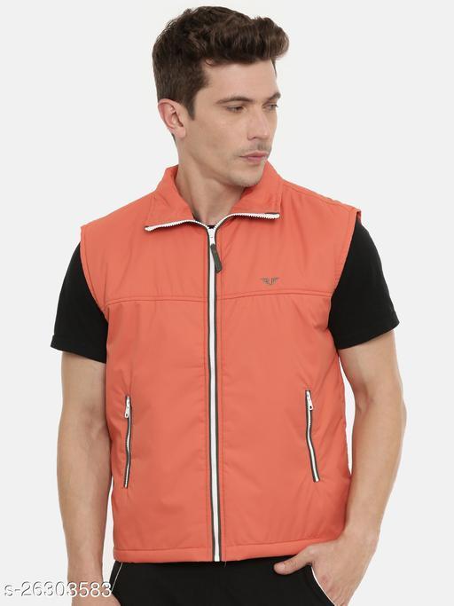 Unsully Men's Bomber Jackets/ Solid Orange Stylish Sleeveless Jackets for men