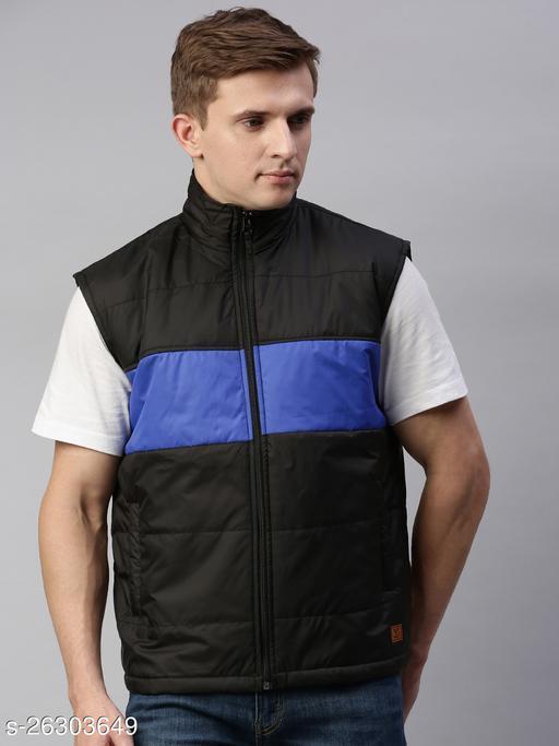Unsully Stylish Colourblocked Jackets/ Solid Black: Royal Blue Sleeveless Bomber Jackets for Men