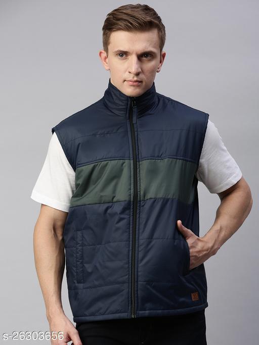 Unsully Stylish Colourblocked Jackets/ Solid Navy Blue :Olive green Sleeveless Bomber Jackets for Men