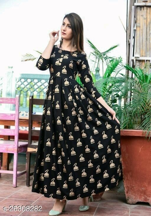 BEAUTIFUL GOLD PRINTED GOWN STYLE