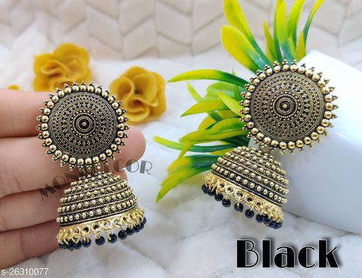 Maddy Space Elite Colourful Jhumkas (Black) .