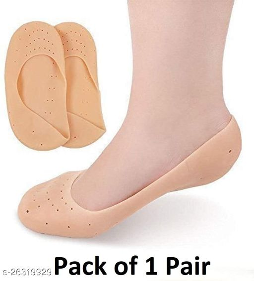 Sument 1 Pair Anti Crack Silicone Full Gel Heel And Foot Protector Moisturizing Socks for Foot Care for Men and Women Pain Relief And Heel Cracks (Beige, Free Size)