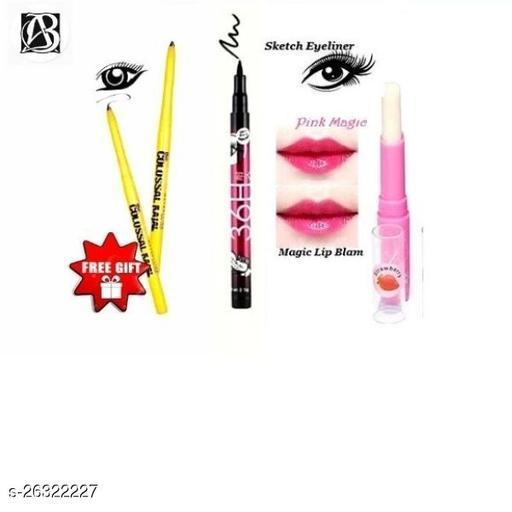 pink magic lip balm pack of 1+36h shills eyeliner pack of 1+colossal black kajal pack of 1
