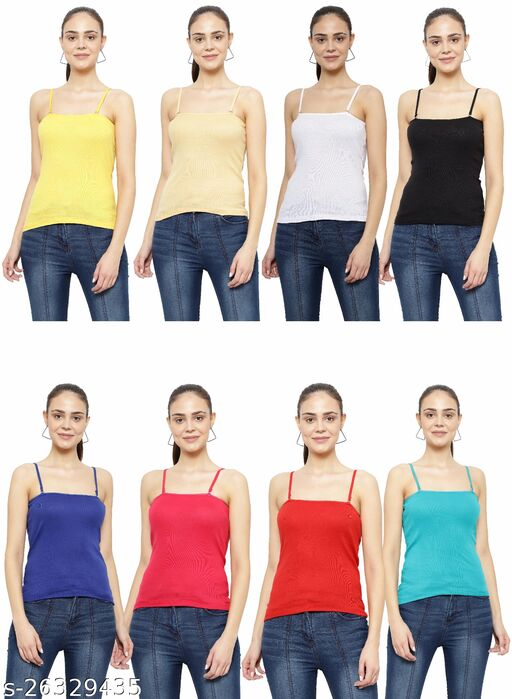 Women Pack of 8 Green Cotton Blend Camisoles
