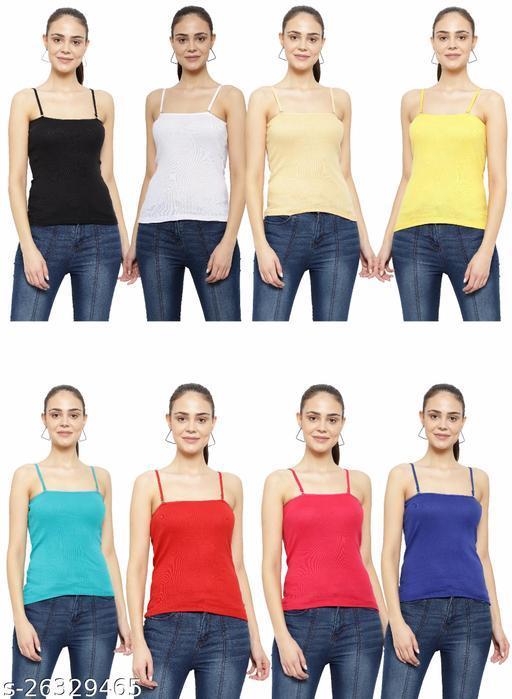 Women Pack of 8 Lemon Yellow Cotton Blend Camisoles
