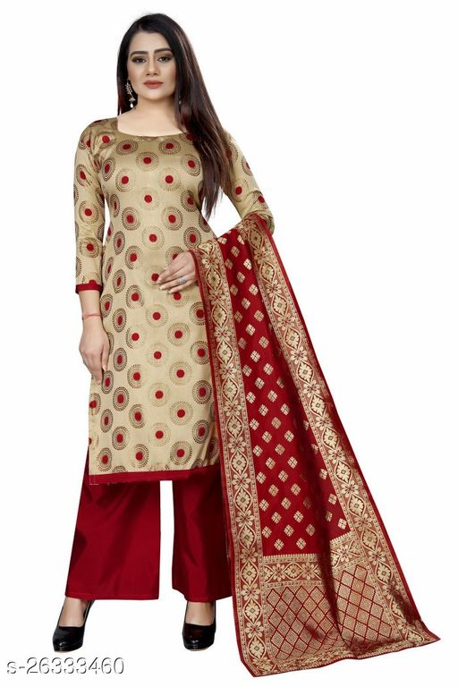 Stylish Beige Colour Brocade Unstitched Dress Material