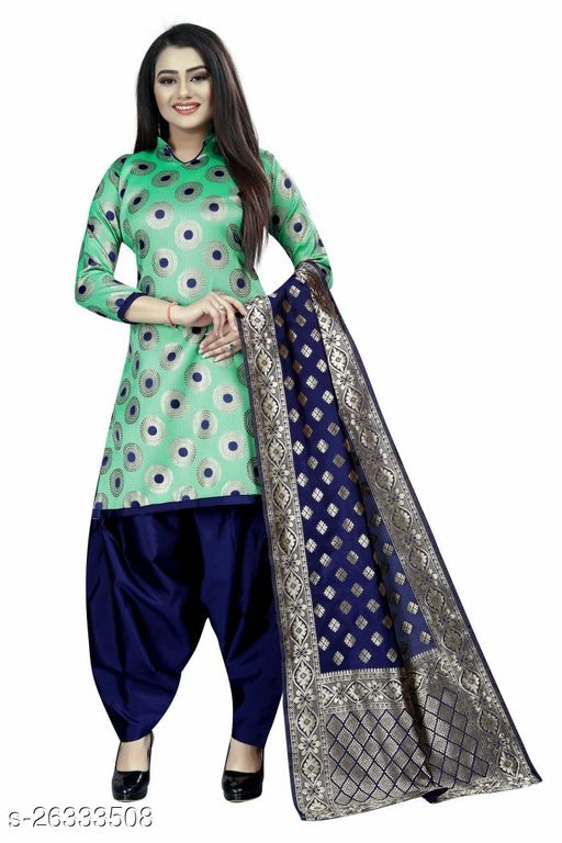 Stylish C-Green Colour Brocade Unstitched Dress Material