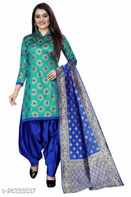 Stylish Rama Colour Brocade Unstitched Dress Material